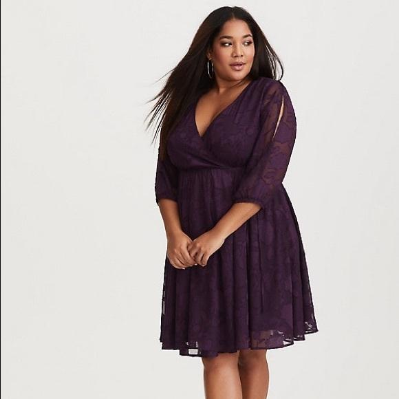 9a12b387f6 NEW Torrid Purple Floral Wrap Skater Dress Size 1
